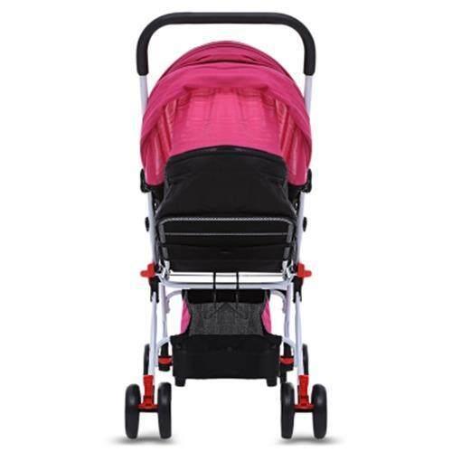 MOONSATER 1602 PRAM UNIVERSAL CASTERS FOLDABLE BABY STROLLER (ROSE RED)