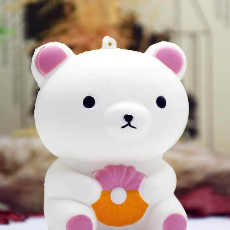 Lucu 10 Cm Jumbo Lembut Scented Kue Donat Beruang Squishy Slow Rising Anak Toys Hadiah Ponsel Straps Gantungan Kunci tas Liontin-Internasional