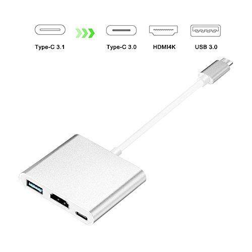 USB C to HDMI 4K Multiport Adapter, USB 3.1 Type-C to HDTV HDMI Adapter Converter 4K+USB 3.0+USB-C Charging Port for New Macbook/Dell XPS13/Chromebook Pixel/Yoga 900/HDTV/Projector - intl