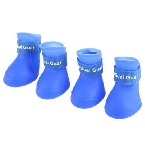 DURABLE DOG CAT RAIN SHOE SNOW-PROOF BOOT HOUSEHOLD SUPPLIES (BLUE)