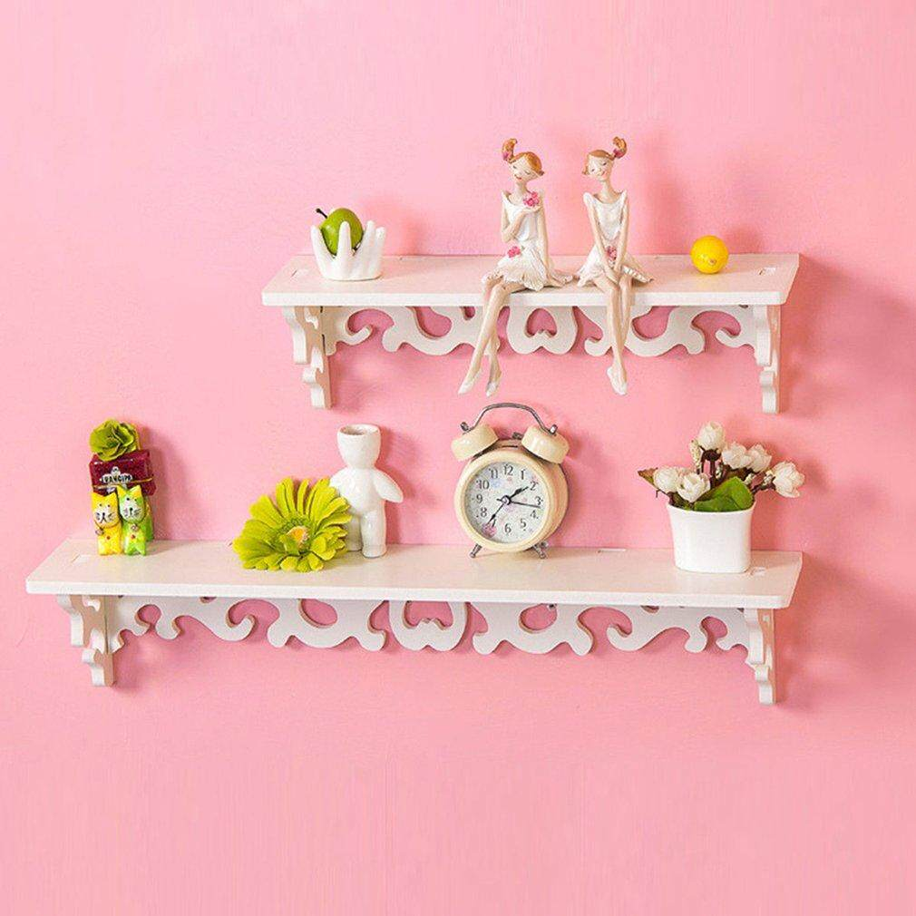 USTORE PVC Board White Carve Display Wall Shelf Rack Storage Ledge Home Decoration