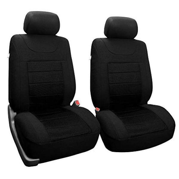 [. Amerika Serikat] FH Group FH-FB070102 Olahraga Kain Pasang Set Mobil Kursi Sarung (Airbag Kompatibel), polos Hitam-Sesuai Paling Mobil, Truk, SUV, atau Van B01N0EQFEA-Internasional