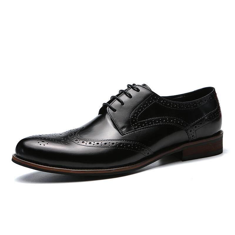 Kailijie Sandal Bakiak Sandal Pria Penuh Kulit Oxford Formal Brogue Bisnis Sepatu