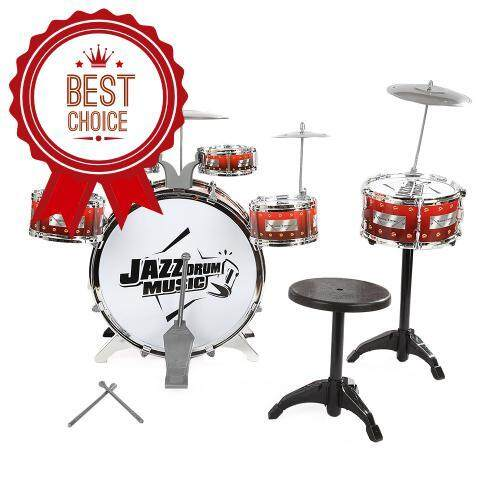 KIDS CYMBALS STOOL DRUMS KIT MUSICAL INSTRUMENT TOY (WINE RED) baby toys