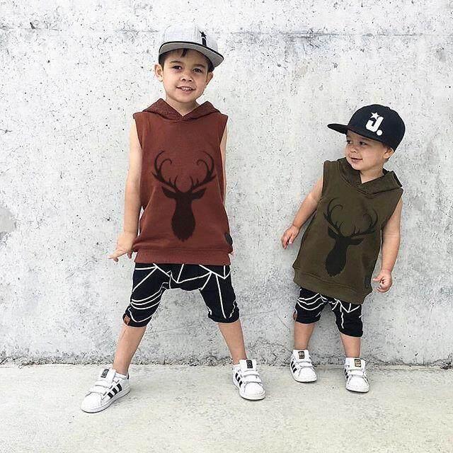 Keren Musim Panas Anak Laki-laki Anak Tanpa Lengan Rusa Atasan Jaket Bertudung Anak Boy Kaus Bertudung Usia 0-5Y
