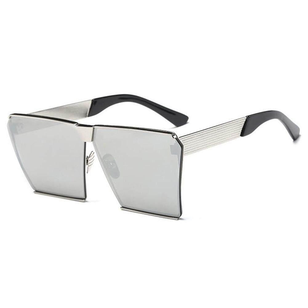 Dsstyles Wanita Oversized Persegi Kacamata Hitam Bingkai Logam Datar Terbaik Jalanan Modis Kacamata Hitam Lensa Warna: bingkai Perak dan Putih Keperakan Spesifikasi: Non-polarized-Internasional