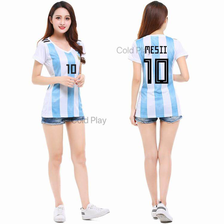 2018 World Cup Argentina National Football Team No 10 Messi Home And Away Football Jersey For Woman Lowest Price