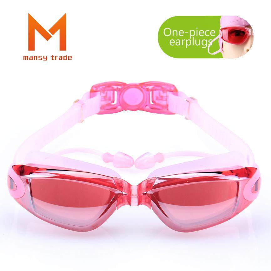 Jual Panas-Modis Pelapisan Datar Kacamata Myopia Renang Kacamata Olahraga Kotak Besar HD Anti-Air Anti-kabut Kacamata Olahraga Satu kepingan Telinga Steker (Cocok untuk Miopia 500 °) -Internasional