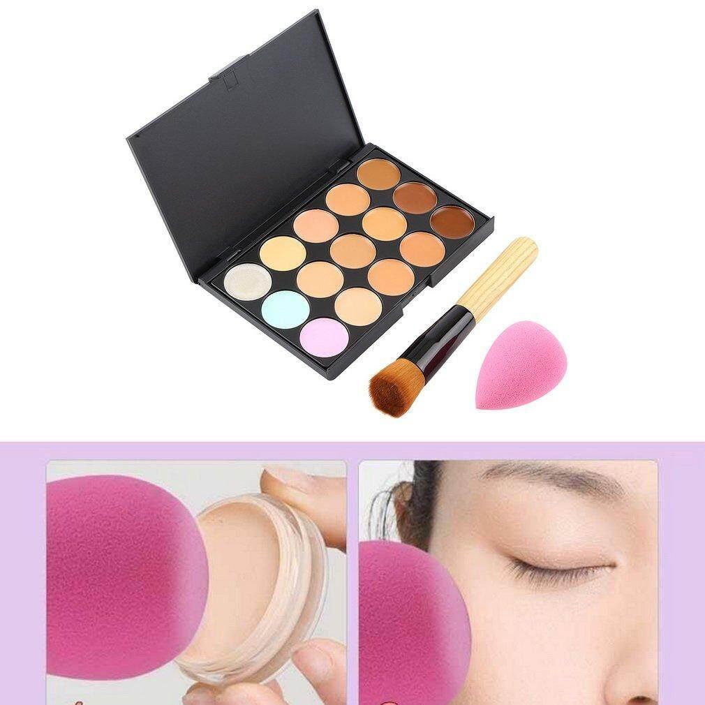 Getek 15 Warna Krim Kontur Wajah Makeup Palet Concealer + Spons Make-up + Kuas Bedak