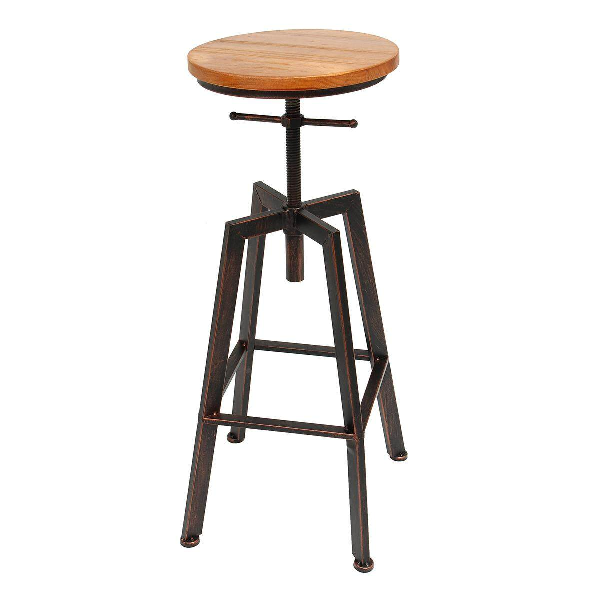 iron bar chairs solid wood bar stool retro industrial design rotating lift high chair dining black - intl