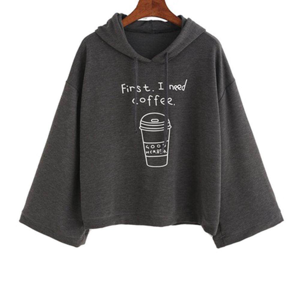 Women I Need Coffee long Sleeve Gray Letter Print Hooded Sweatshirt Pullovers Loose Tops