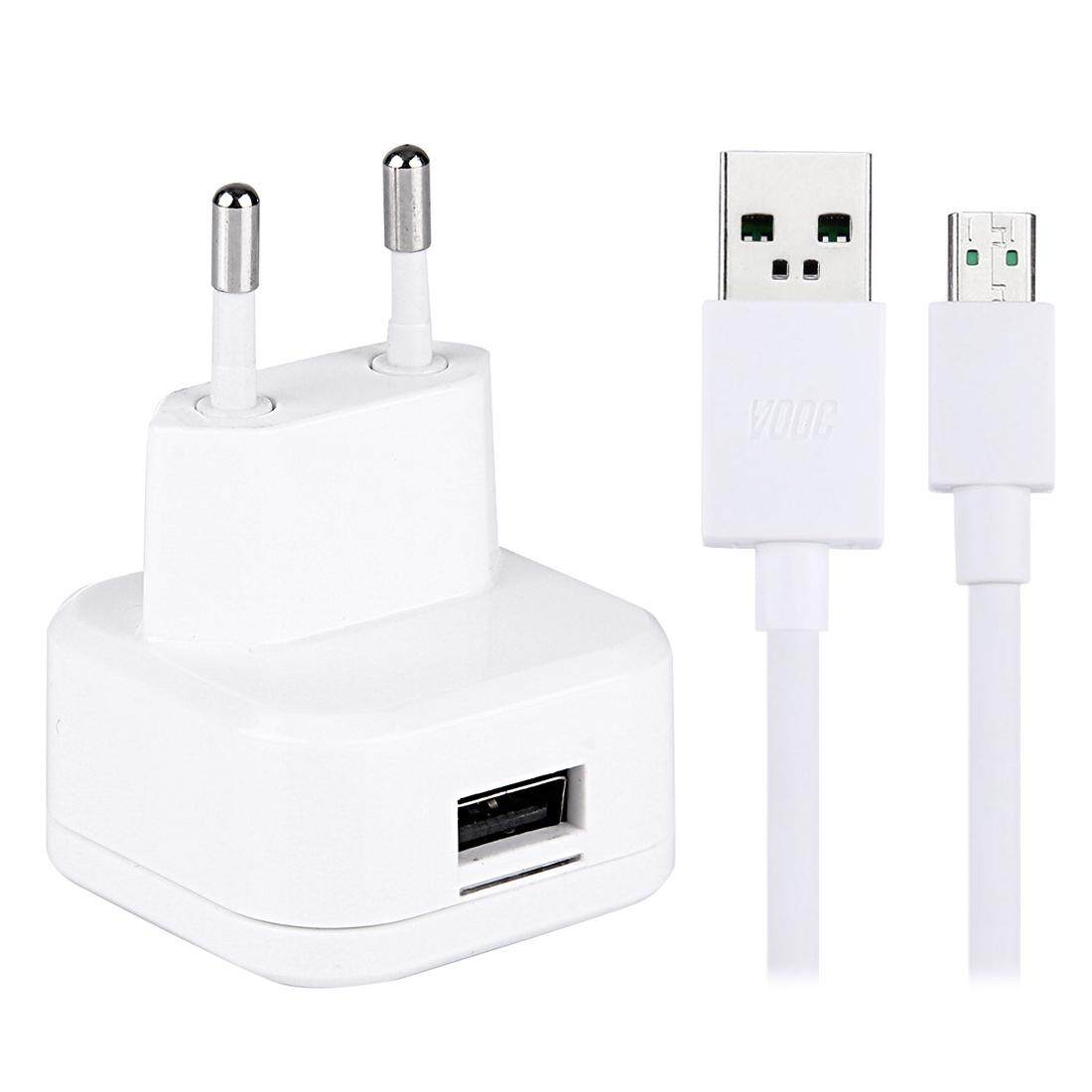 1-Port High Compatibility USB Charger with Original OPPO Fast Charging Micro USB Cable, For OPPO R9 Plus / R7 Plus / N3 / R5 / U3 / R7S Phone, EU Plugand#160;(White) - intl