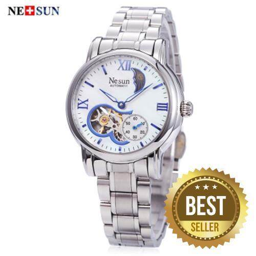 NESUN LS9061 WOMEN AUTOMATIC MECHANICAL WATCH HOLLOW DIAL CHRONOGRAPH MOON PHASE DISPLAY WRISTWATCH (BLUE)