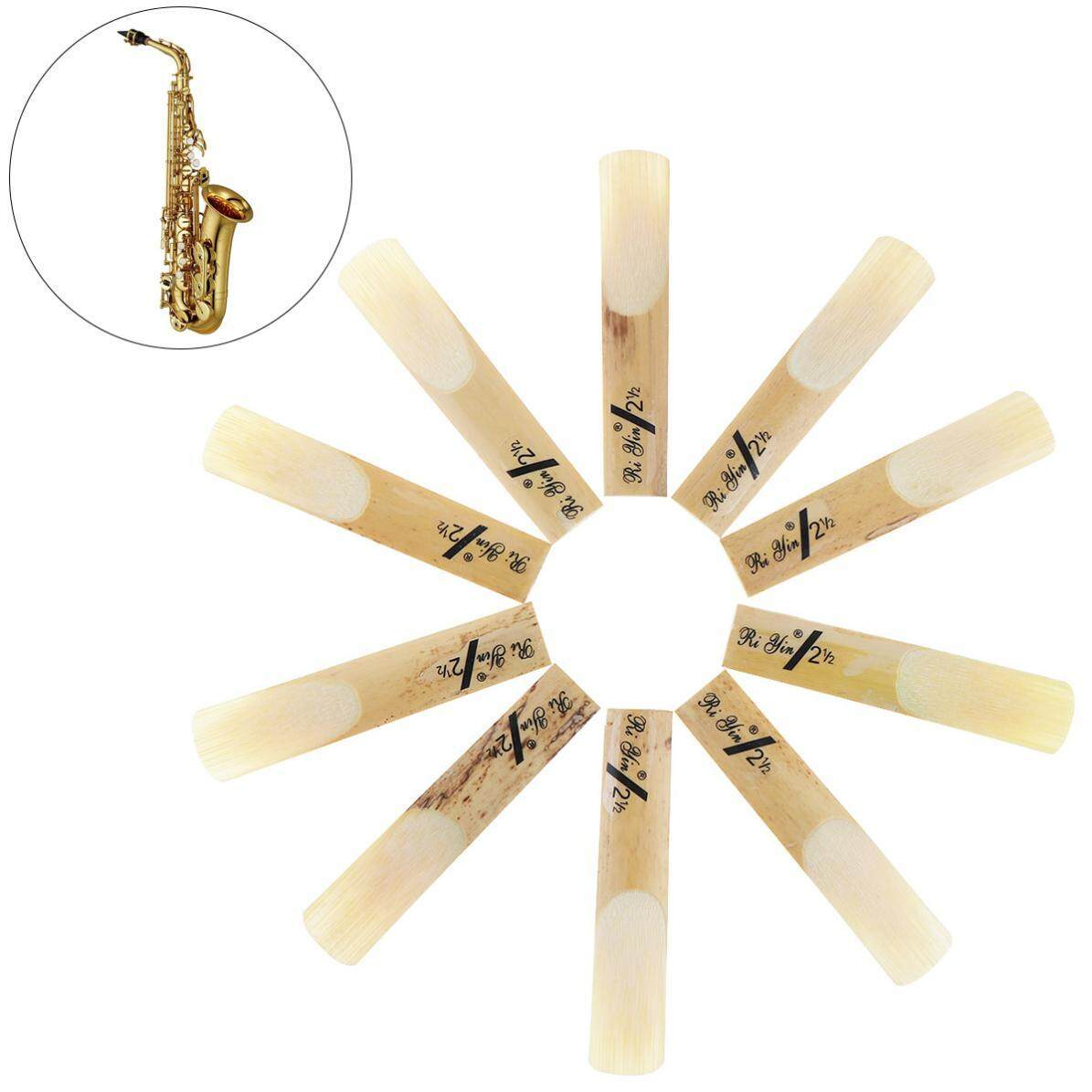 10pcs Tenor bB Saxophone Sax Bamboo Reeds 2-1/2 Strength 2.5 - intl