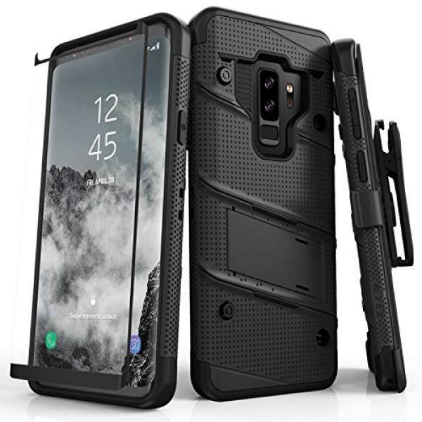 Zizo Bolt Seri Samsung Galaksi S9 Plus Case-Penuh Pelindung Layar Kaca Melengkung dengan Sarung dan 12ft Kelas Militer jatuh Diuji (Hitam & Hitam) -Internasional