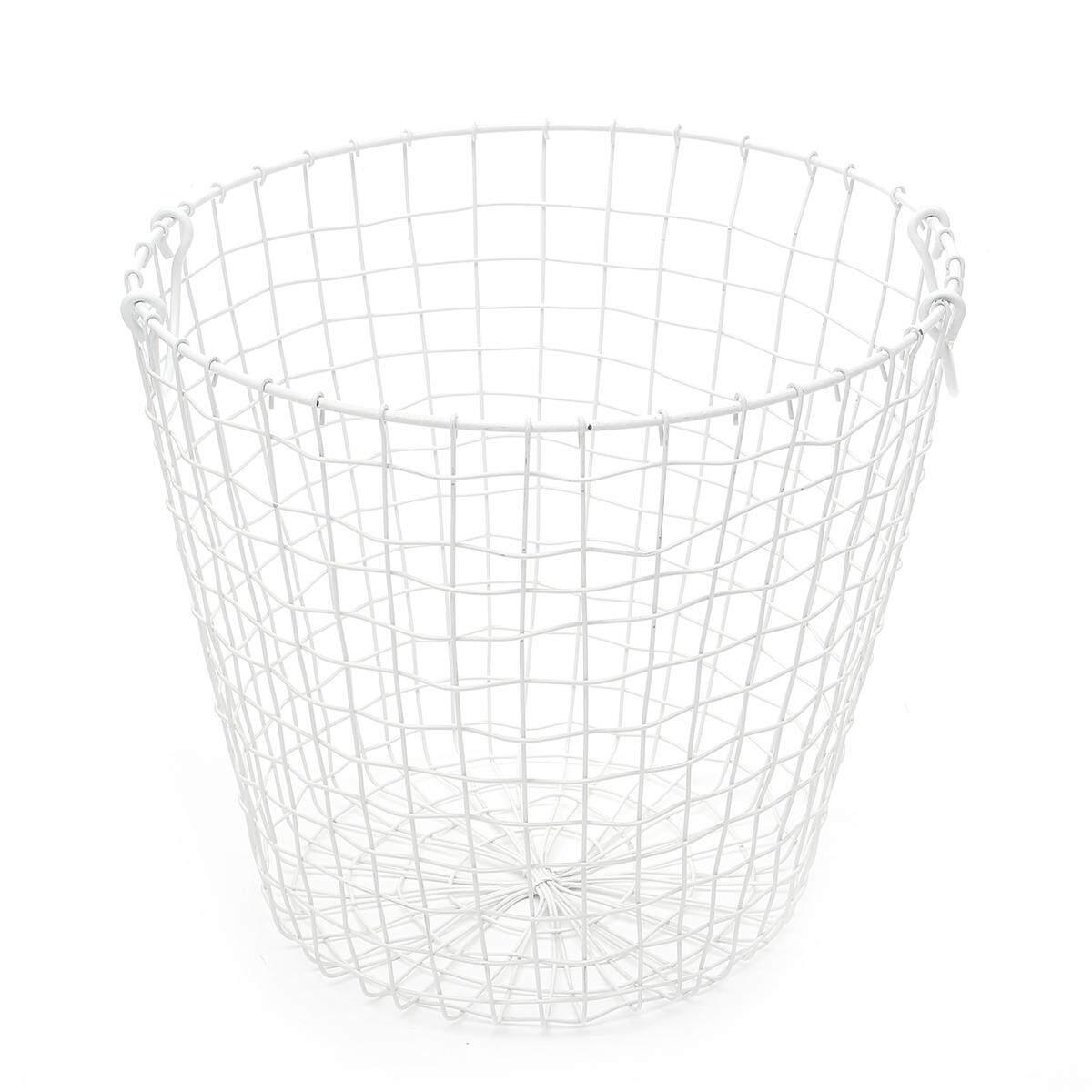 Metal Wire Basket Storage Waste Paper Bin Storage Rustic Industrial Home Gift(white) By Glimmer.