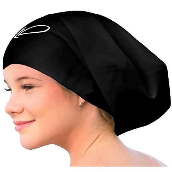 Lahtak Tambahan Besar Renang Tutup-Bergaya, anti-Air Silikon Berenang Topi untuk Rambut Panjang Wanita & Pria Dirancang untuk Rambut Tebal, keriting atau Gimbal Rambut Setelan Perenang Rekreasi (Hitam)-Internasional