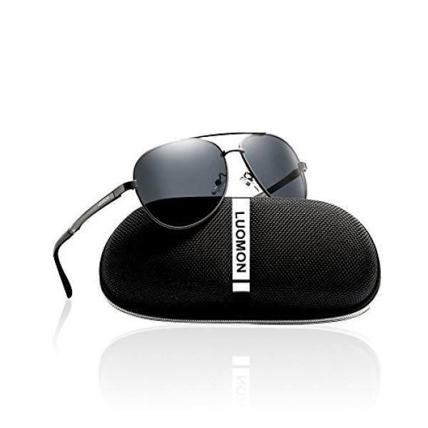 Luomon Pria Terpolarisasi Penerbang Kacamata Hitam Logam Grey Bingkai/Grey Lensa untuk Memancing Mengemudi Bersepeda Golf Bisbol Lari Softball Daki Gunung LM033-Internasional