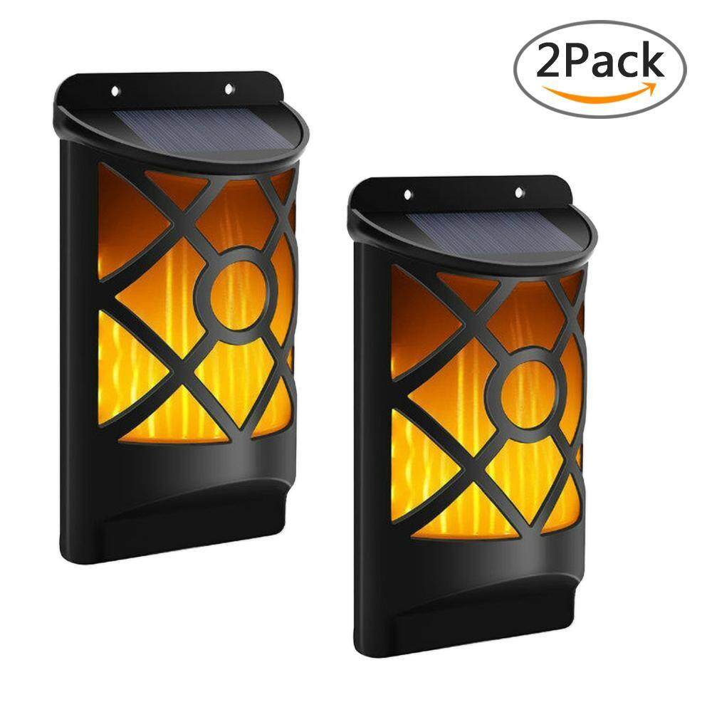 Reautiful Solar Led Motion Light 2 Pack Flickering Flames Wall Lights Auto On Off Bright