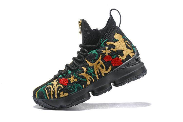 LeBron Raymone James 15 Black Gold NBA Top Quality Authentic Hard-wearing New Style Basketball Shoes King James Sports Shoes Men's EU:40-45 - intl