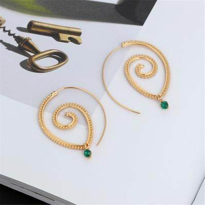 Spiral Drop Earrings Round Exaggerated Whirlpool Gear Jewelry (GOLD)