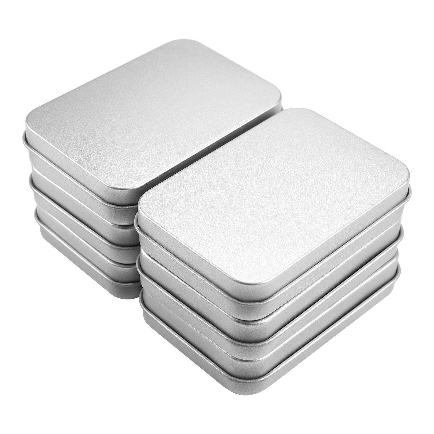 yiokmty 6 Pack 3.75 By 2.45 By 0.8 Inch Silver Metal Rectangular Empty Hinged Tins Box Containers Mini Portable Box Small Storage Kit, Home Organizer - intl