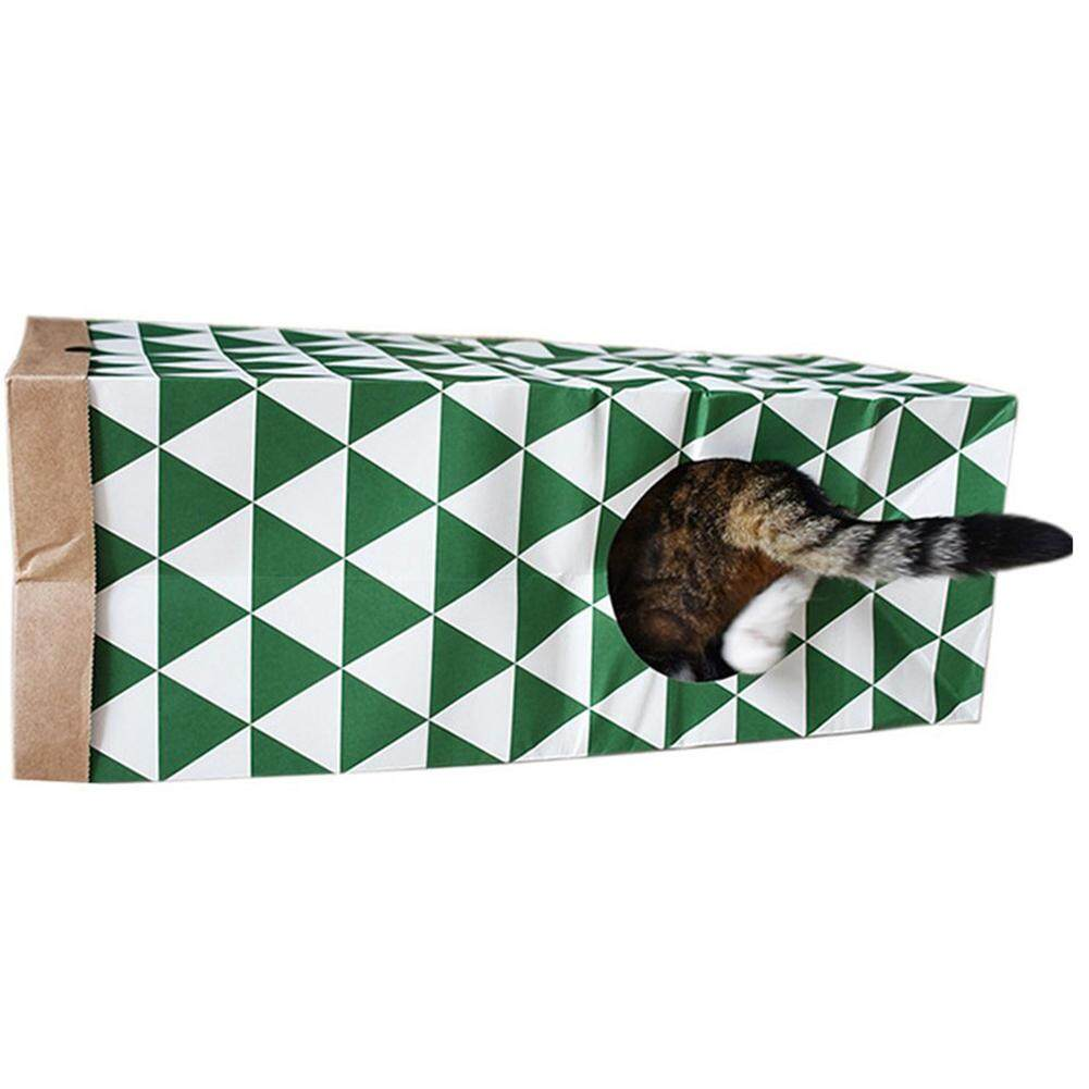 Kucing Interaktif Mainan Dilipat Tas Kertas Kraft Terowongan dengan Kedua Pintu Masuk Jendela untuk Peliharaan Kucing-Internasional