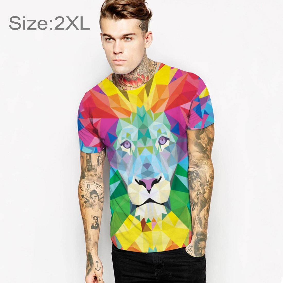 ... Summer 3D Colorful Lion Printing Pattern Men T shirt O neck Short Sleeve Tees