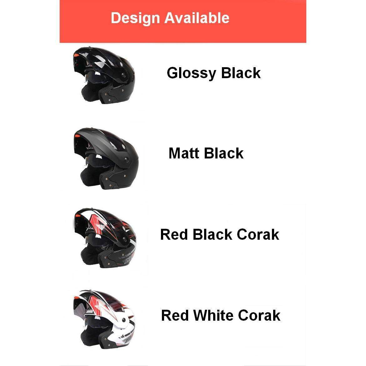 Full Face Motorcycle Helmet Semi Open Face Function Universal Usage Washable Value Pack