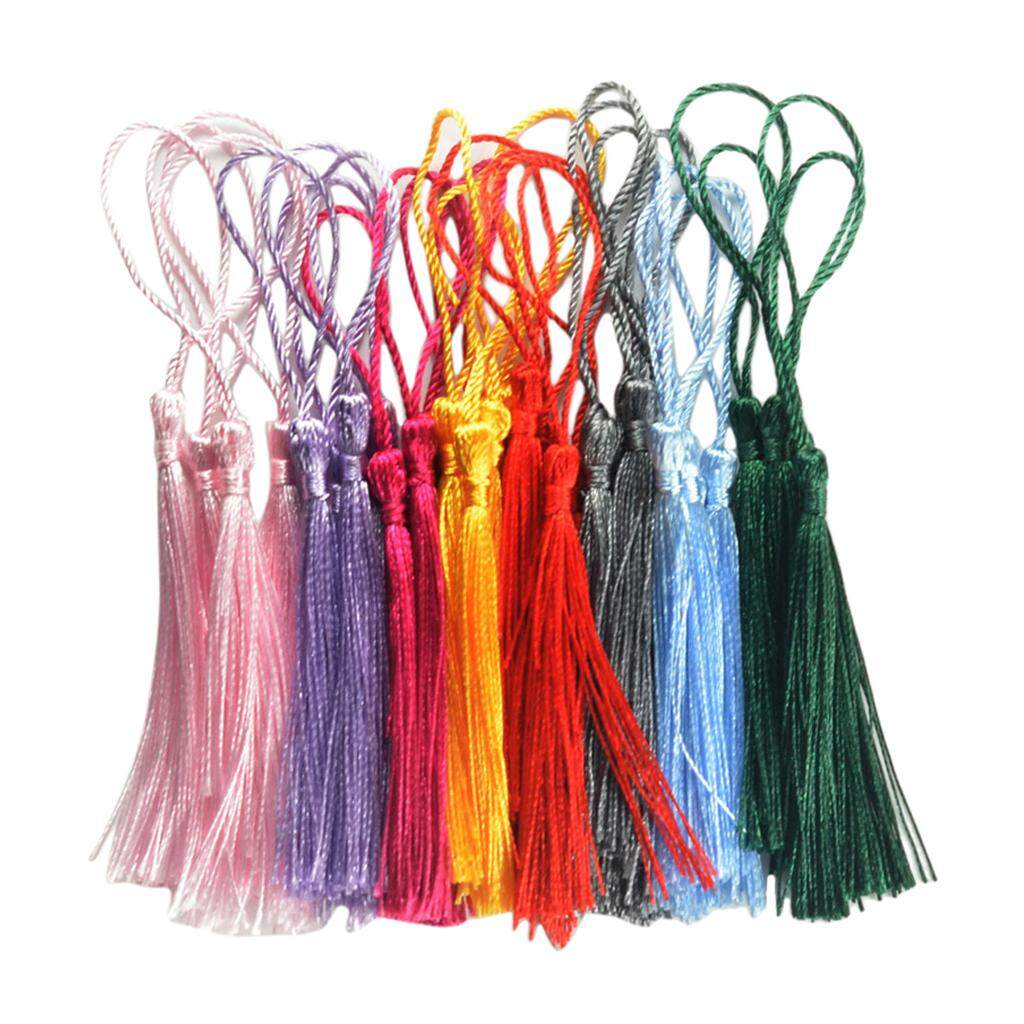 Magideal 30 Pieces Multicolored Silky Handmade Soft Craft Mini Tassels With Loops - Intl By Magideal.