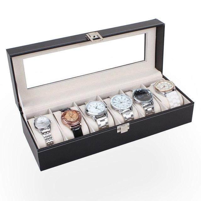 6 Slot PVC Black Watch Storage Box (Starzdeals.my)