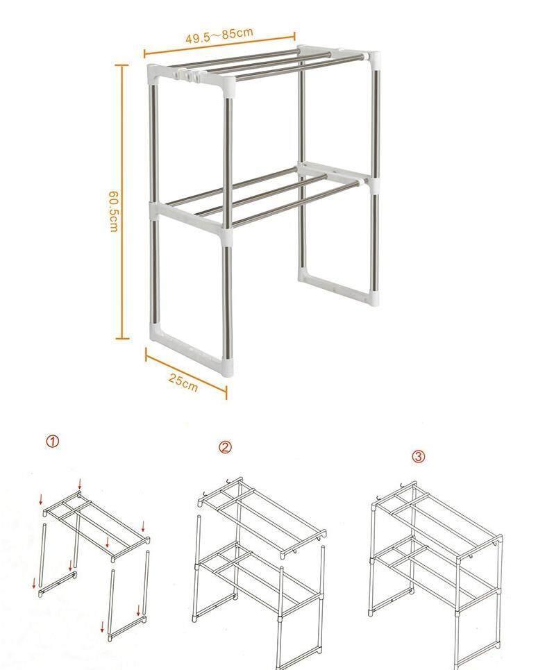 Bolster Store Multipurpose Shoe Bedroom Kitchen Micro oven Mircowave Kitchen Storage Stainless Steel 2 Layer Rack