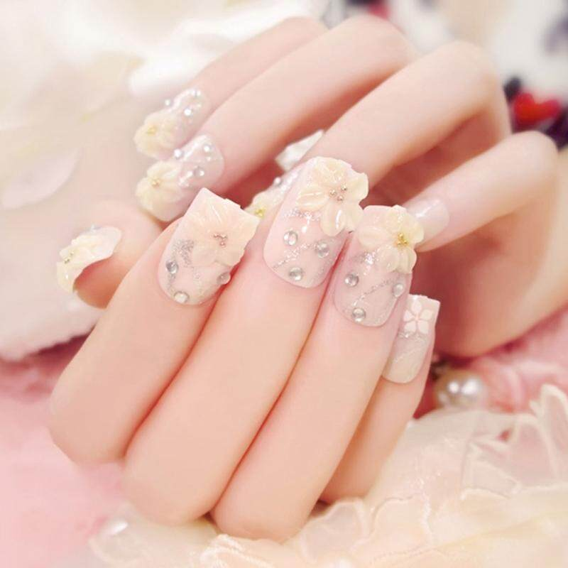 24Pcs/Set Fashion Flower Fake Nails Art Tips Acrylic Nail False Artificial Nail - intl