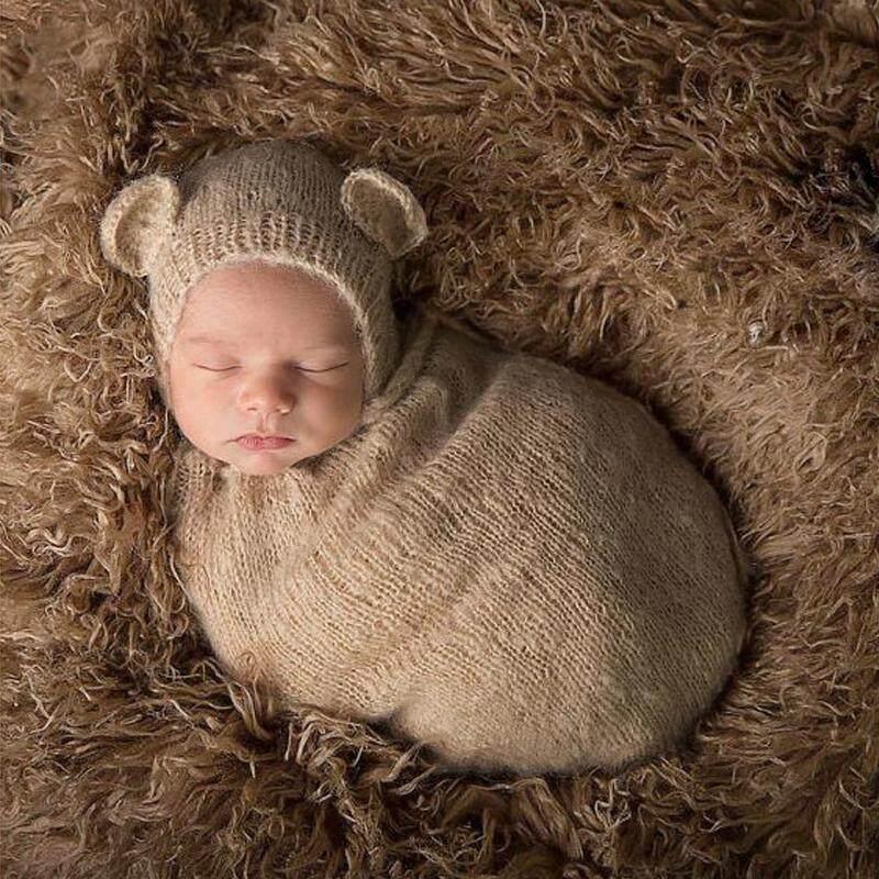 2 Pcs Bayi Baru Lahir Fotografi Alat Peraga Bayi Anak-anak Kostum Foto Alat Peraga Bayi Baru Lahir Aksesoris Fotografi Menopang Beruang Topi + Tidur Tas khaki-Internasional