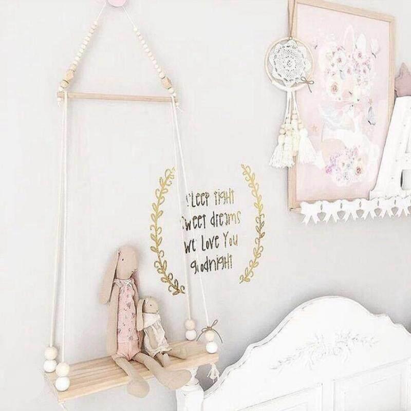 BolehDeals Hanging Wooden Shelves Clapboard Crafts Childrens Room Decor Burlywood - intl