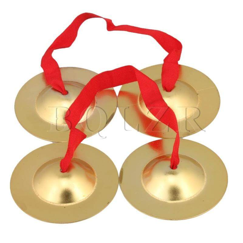 9cm Brass Copper Cymbals Musical Toys with Red Rope Yellow Set of 2