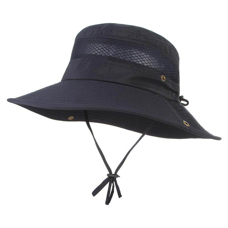 d3eba780d348a EOZY Men Fashion Solid Color Boonie Hat Outdoor Sport Travel Soft Wide Brim  Sunhat With Breathable Mesh ...