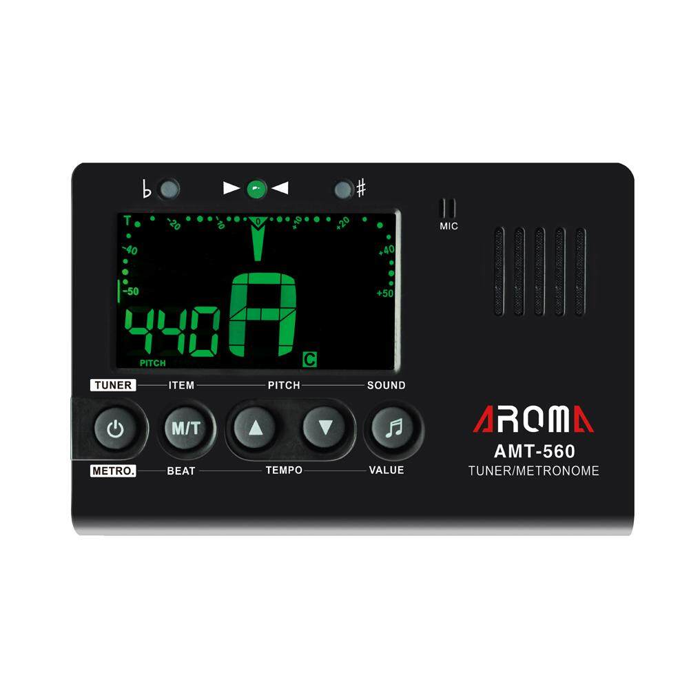 Aroma Amt-560 Electric Tuner & Metronome Built-In Mic With Pickup Cable 6.3mm For Guitar Chromatic Bass Violin Ukulele Universal Portable.