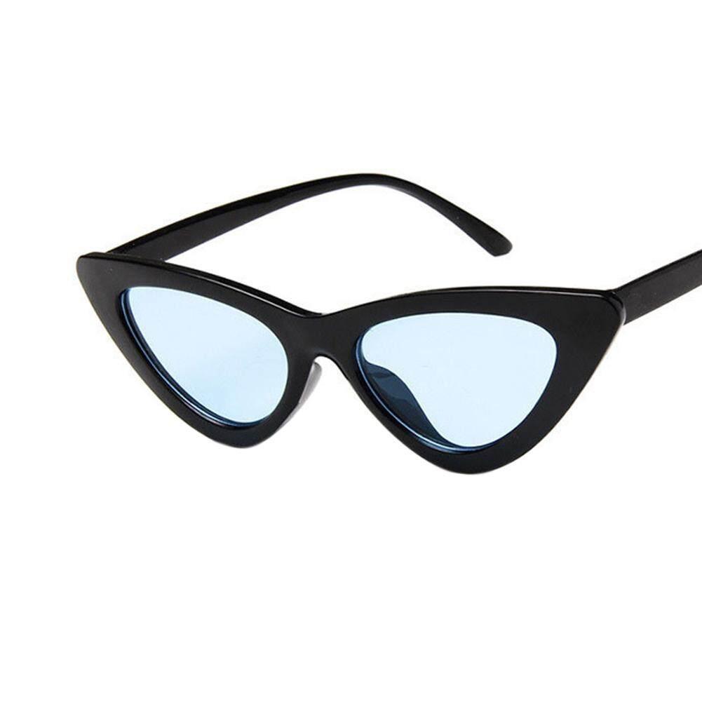 Dsstyles Retro Triangle Kucing Mata Kacamata Hitam UV400 Bersih Vision Kacamata Kacamata Hadiah Valentine 'S Day Handsome Lensa: cerah Hitam With Biru Lensa-Internasional