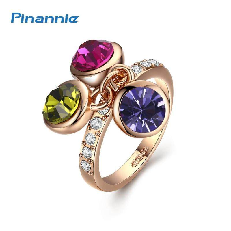 Pinannie 100% Austria Crystal Rings Jewelry for Women Rose Gold Color Anillos