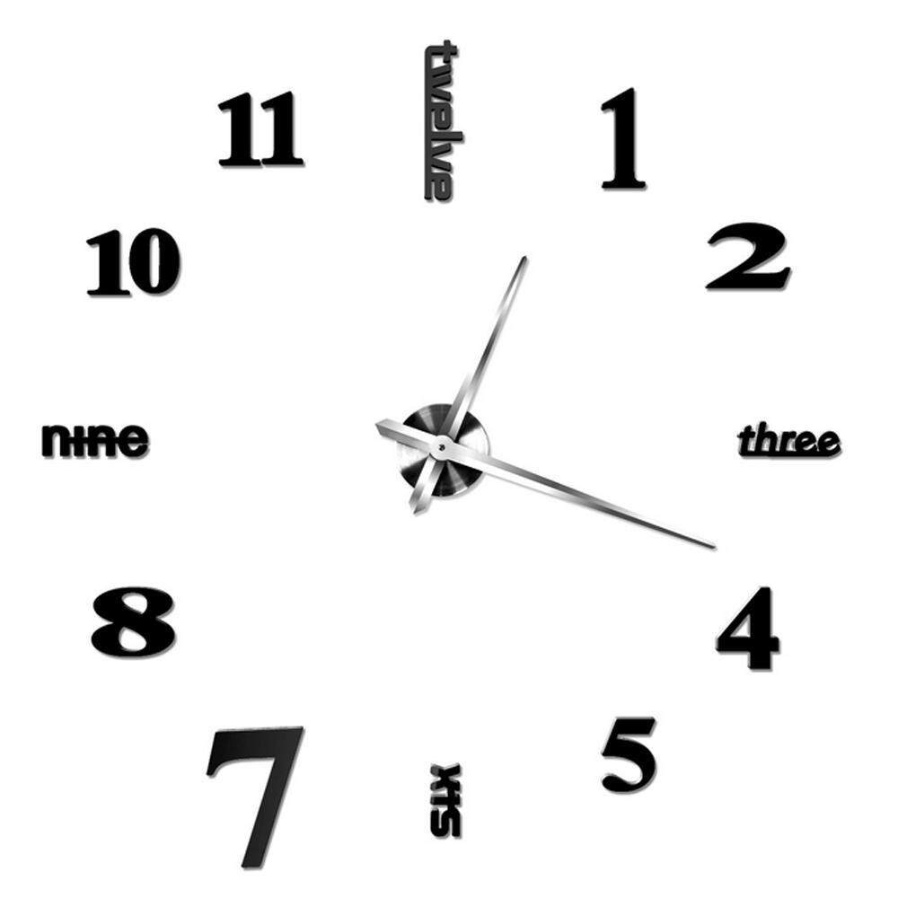 yinggelai Large 3D Acrylic Mirror DIY Wall Clock, Wall Stickers Clocks For Living Room Home Decoration (Black)