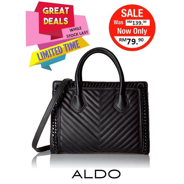 Authentic Aldo Quilted Large Satchel Black Clearance