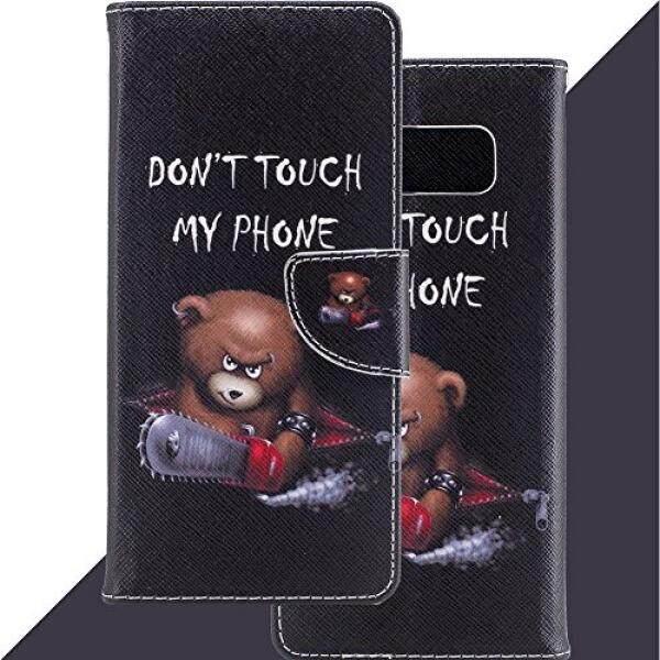 Dompet Kulit Lipat Case Sarung untuk Samsung Galaksi Note 8, anti Gores Case dengan Telepon Pergelangan Tangan & Pemegang Kartu, tertanam Tahan Lama Stand Penyangga Magnetik Case untuk Galaksi Note 8 (2017) Gergaji Beruang-Internasional