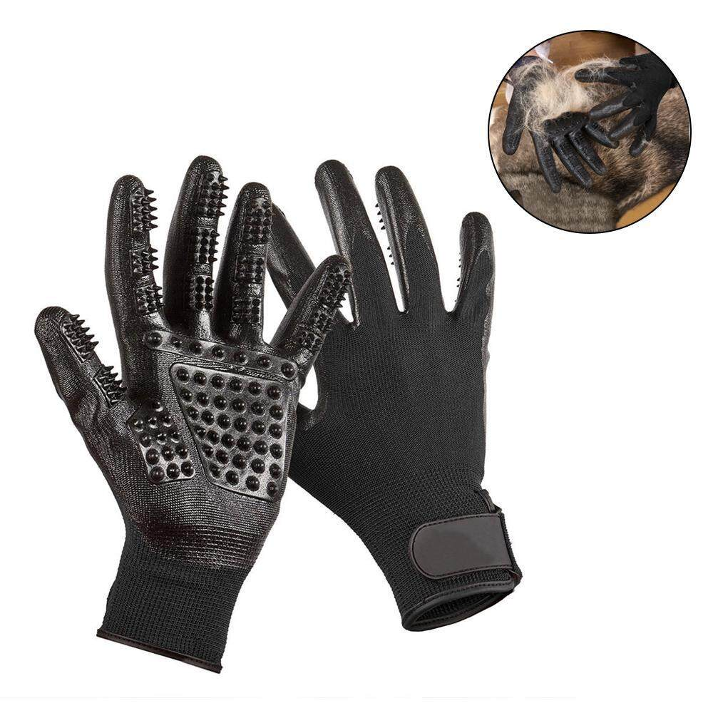 Kobwa Pet Grooming Gloves, 1 Pair Pet Five Fingers Rubber Massage Brush Gloves-Efficient Pet Hair Remover Mitt - Massage Tool With Enhanced Five Finger Design - Perfect For Dogs Cats - Intl By Kobwa Direct.