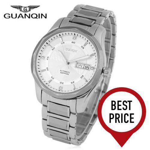 GUANQIN GJ16013 MEN AUTOMATIC MECHANICAL WATCH 10ATM DUAL CALENDAR SAPPHIRE GLASS MIRROR LUMINOUS WRISTWATCH (STEEL BAND+WHITE DIAL)