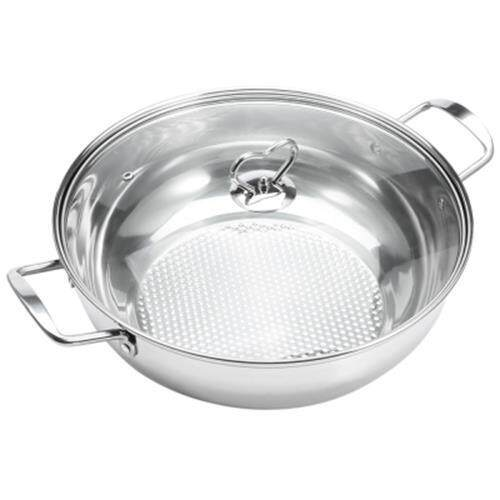 STAINLESS STEEL FONDUE SOUP POT COOKWARE WITH GLASS LID (SILVER)