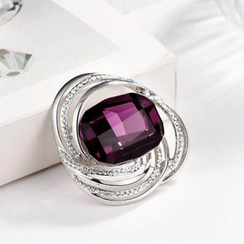 CZECH DRILL GLASS EMBELLISHED PLATINUM PLATED BROOCH FOR WOMEN (PURPLE AND SILVER)