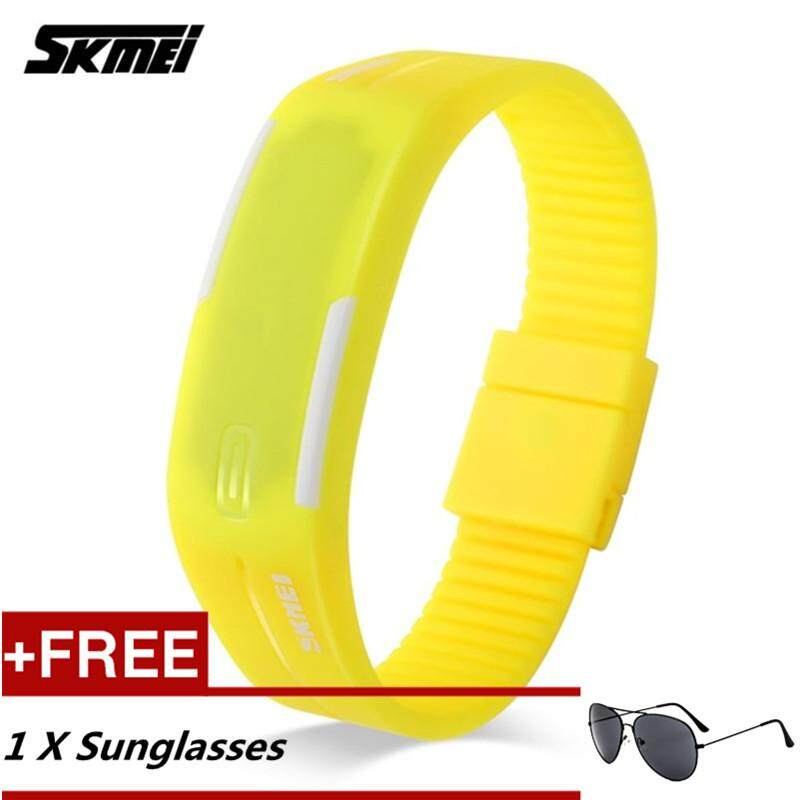 NanXiangZi SKMEI Male and Female Couple LED Waterproof Hand Ring Candy Color Electronic Watch + Free a Sunglasses