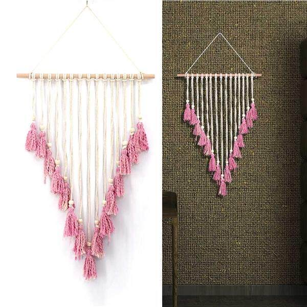 ... Macrame Woven Wall Hanging Boho Chic Bohemian Home Geometric Art Decor Beautiful Apartment Dorm Room Decoration ...