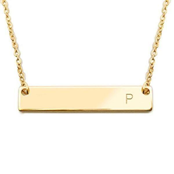 18 K Gold Berlapis Initial Bar Kalung Hari Ibu Wisuda Hadiah 17.5 Inch Bar Yang Dipersonalisasi Kalung (P) -Internasional